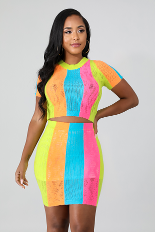 Neon Knit Stripe Skirt Set