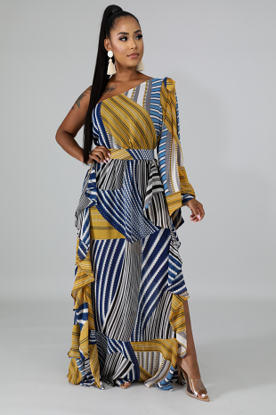Chiffon Stripe Swirl Maxi Dress