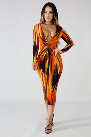 Flaming Midi Dress