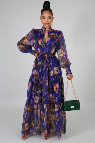 Blossoming Ruffled Maxi Dress