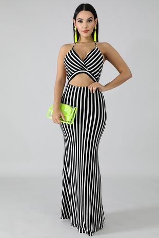 Zebra Cut Out Maxi Dress