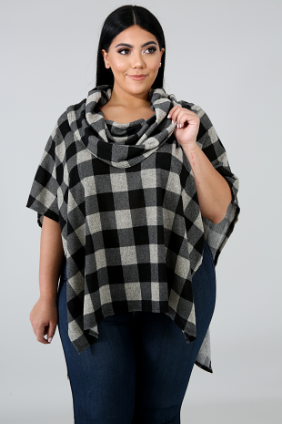 Checkered Plaid Poncho