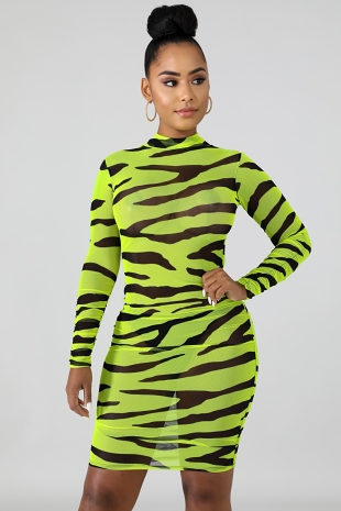Neon Stripes Midi Dress