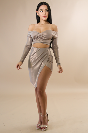 Long Sleeve Bronze Skirt Set