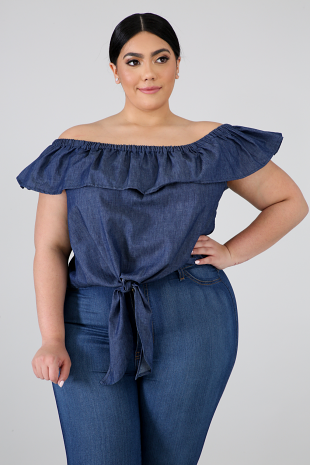 Ruffled Denim Tie Top
