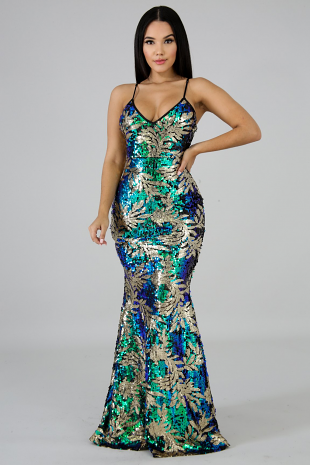 Party Ready Sequin Maxi Dress