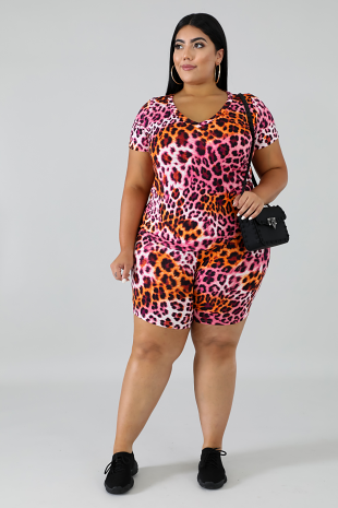 Flaming Cheetah Short Set