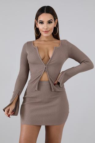 Rib Knit Mini Skirt Set