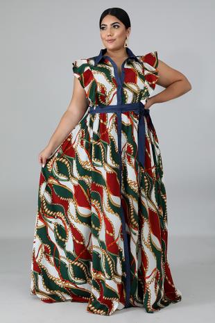 Chains Stripe Maxi Dress