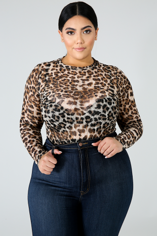 Sheer Cheetah Bodysuit