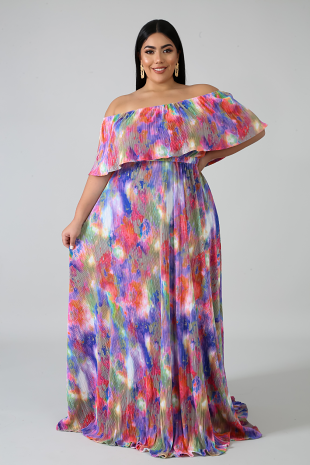 Pleated Color Dye Maxi Dress