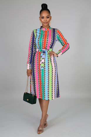 Color Chains Midi Dress