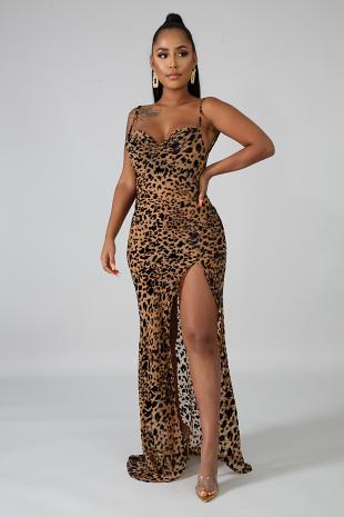 Velvet Spots Sheer Mermaid Dress