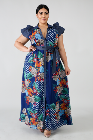 Denim Chiffon Maxi Dress