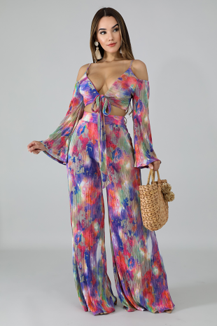 Color Pleats Palazzo Set