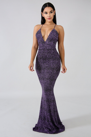 Gala Status Shimmer Maxi Dress