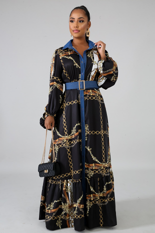 Chains Denim Maxi Dress