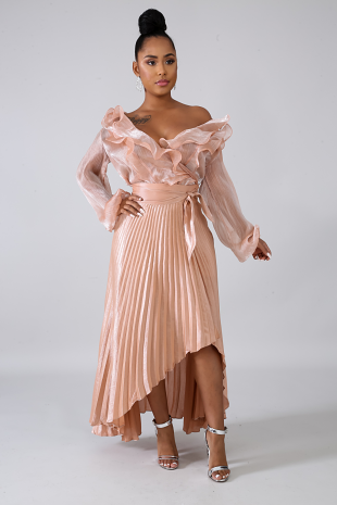 Pleated Shine Long Tail Skirt