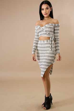 Striped Rib Knit Skirt Set