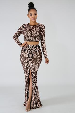 Sequin Sheer Maxi Skirt Set