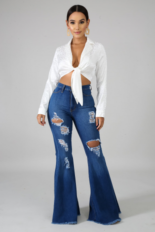 Denim Raw Flare Jeans