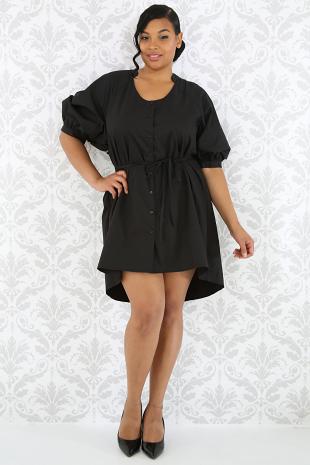 Puffy Sleeve Long Blouse Dress