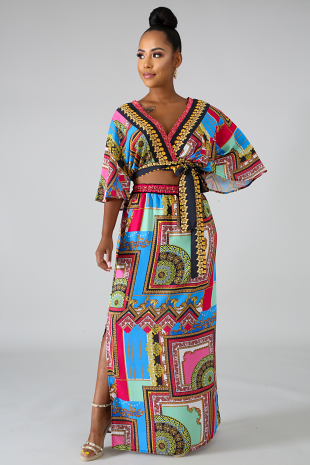 Medallion Kimono Skirt Set