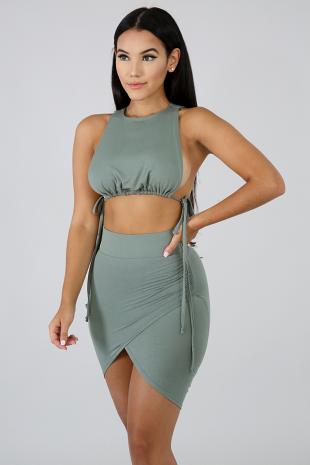 Jersey Knit Tie Skirt Set