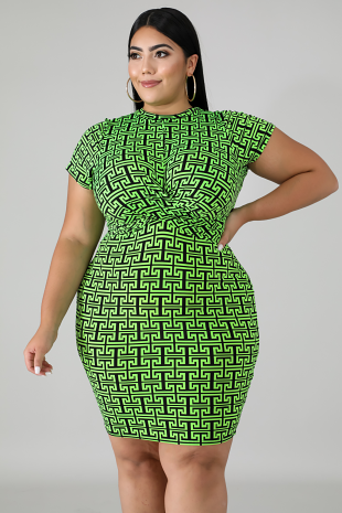 Neon Maze Twist Dress