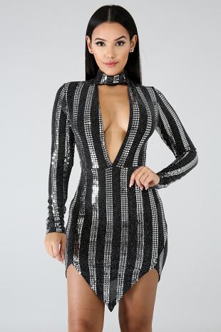 Choker Sequin Slit Dress