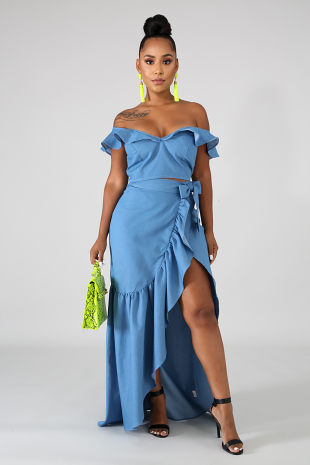 Denim Wrap Maxi Skirt Set