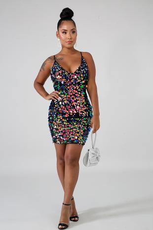 Sequin Drops Mini Dress