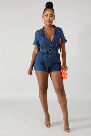 Denim Queen Romper