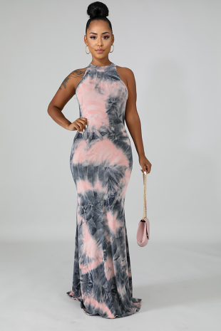 Charcoal Tie Dye Dress