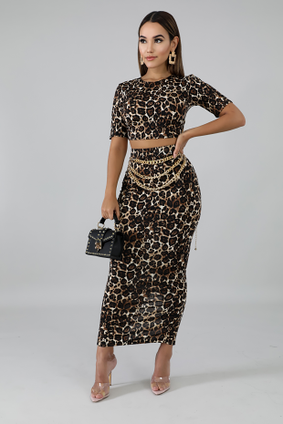 Cheetah Skirt Set