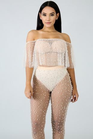 Ruffled Sheer Pearl Bodysuit