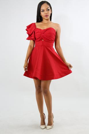 Twist Bow Flare Dress