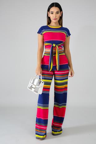 Color Stripe Knit Palazzo Set