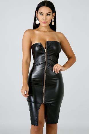 Tube Leatherette Zip Body-Con Dress