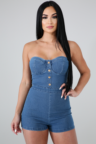 Denim Tube Romper