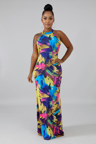 Scrunched Dye Maxi Dress