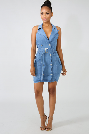 Denim Tux Button Dress