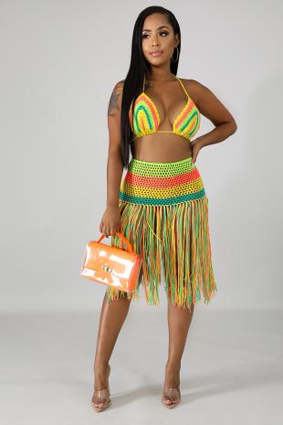 Fringe Knit Skirt Set