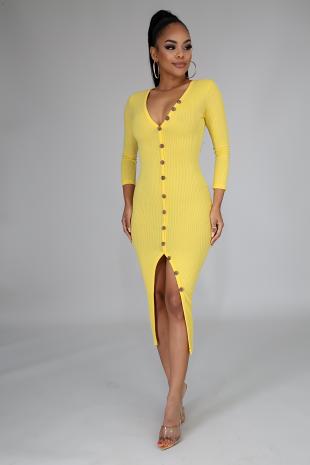 Knit Button Midi Dress