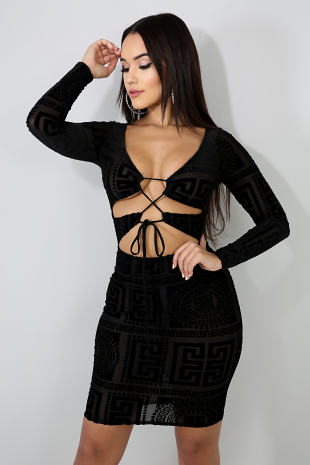 Medallion Maze Sheer Body-Con Dress