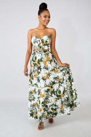 Garden Pleat Maxi Skirt Set