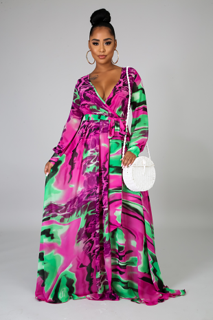 Color Swirl Maxi Dress