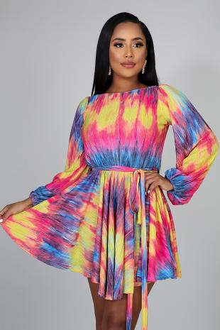 Pleated Dye Dress