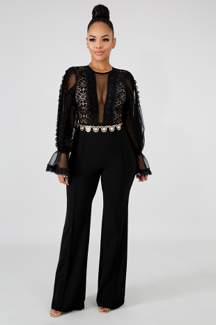 Long Sleeve Lace Vintage Jumpsuit