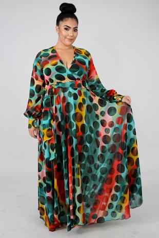 Color Circles Maxi Dress